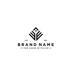 Letter we square with roof house logo design vector