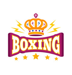 logo with crown and stars for boxing vector image