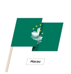 Macau ribbon waving flag isolated on white vector