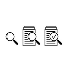 magnifying glass icon set search documents signs vector image