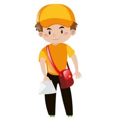 Mailman in orange shirt delivering letter vector