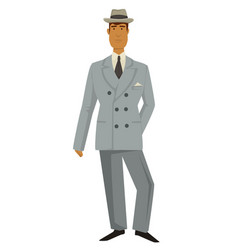 Man in vintage suit and hat 1930s fashion style vector