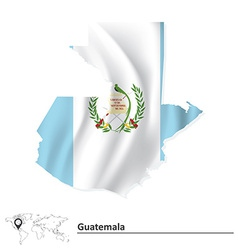 Map of Guatemala with flag vector image