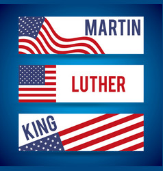 Martin luther king banners flag usa decoration vector