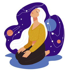 Meditation and unity with universe and cosmos vector
