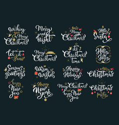 merry christmas greetings white calligraphy vector image