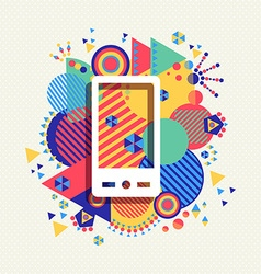 Mobile phone icon color vibrant shape background vector image