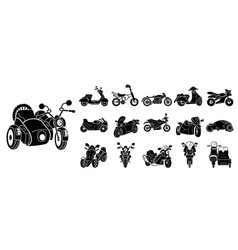 Motorbike icons set simple style vector