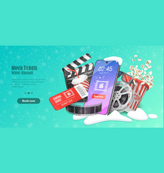 Movie tickets online booking mobile movie theater vector