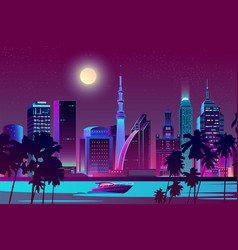 Night city on river tropical megapolis vector
