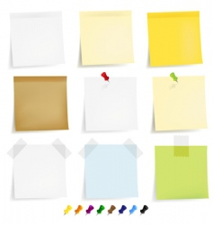 Notepaper and pins vector