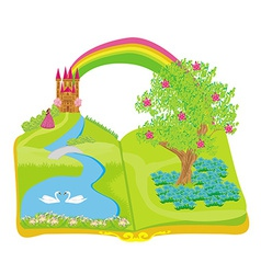 Open book - beautiful princess in the garden vector image