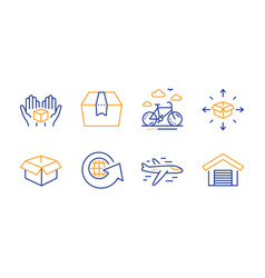 opened box airplane and package box icons set vector image