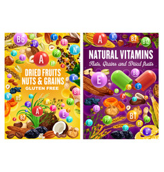 Organic nuts grains and dried fruits healthy food vector