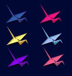origami crane flying isometric neon gift message vector image