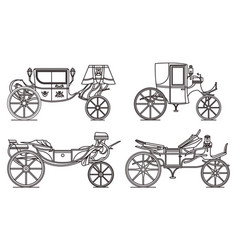 outline set retro cab or carriage vector image