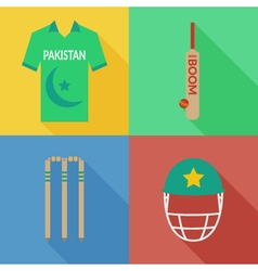 Pakistan cricket icons vector