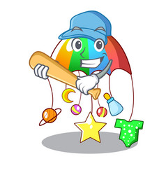 playing baseball character hanging toy attached to vector image