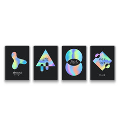 Posters set with fluid colorful shapes vector