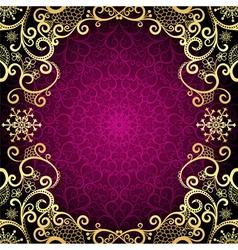 Purple vintage frame with lace mandala vector image