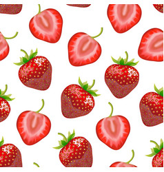 realistic detailed strawberry whole and a half vector image