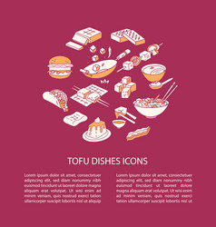round cooking tofu icon composition vector image
