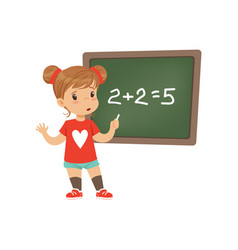 sad little schoolgirl made a mathematical mistake vector image