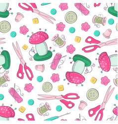 seamless pattern mannequin sewing accessories vector image