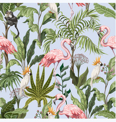 seamless pattern with jungle trees flamingo vector image
