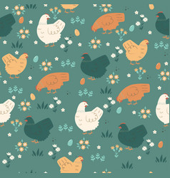 seamless spring pattern with cute chickens vector image