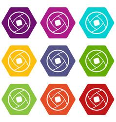 Semi-closed lens icon set color hexahedron vector