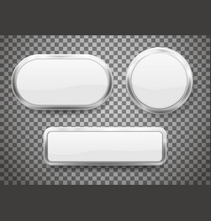 set buttons with chrome frame isolated on vector image