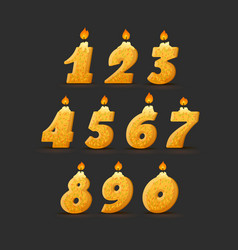 set colorful birthday candle numbers vector image
