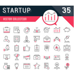 Set flat line icons startup vector