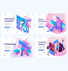 Set isometric landing pages concept online vector