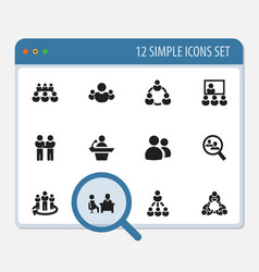 set of 12 editable cooperation icons includes vector image