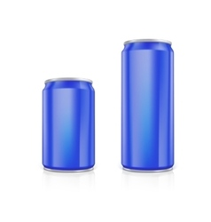 Set of blue blank aluminium cans vector