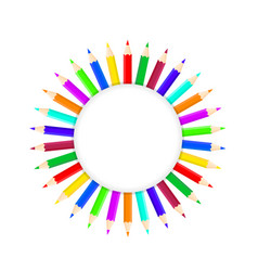 set of bright color pencils on white stock vector image