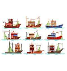 Set of isolated trawler or ship boat for fishing vector