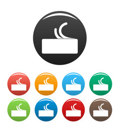 side view butter icons set color vector image