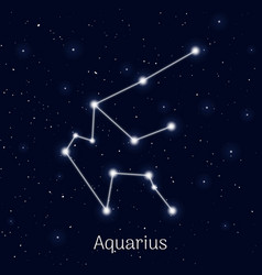 Sign zodiac aquarius night sky background vector
