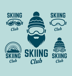 Skiing club colored colored emblems vector