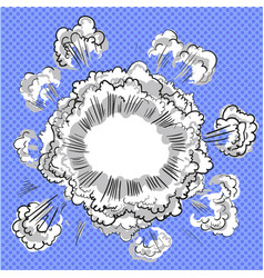 smoke dust explosion cartoon frame hand drawn vector image