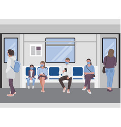 Social distancing people inside a subway train vector