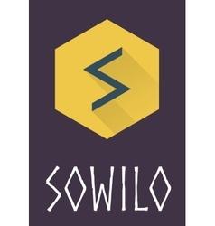 Sowilo rune of Elder Futhark in trend flat style vector