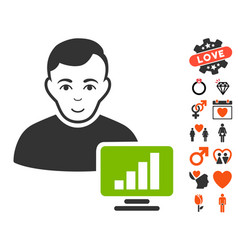 Stock trader icon with valentine bonus vector