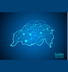 Sudan map with nodes linked by lines concept of vector