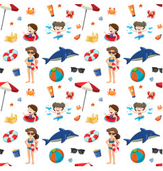 Summer element on seamless pattern vector