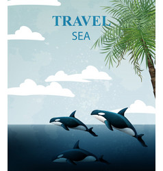 Summer travel card with whales tropic sea vector