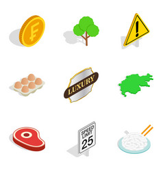 swiss icons set isometric style vector image